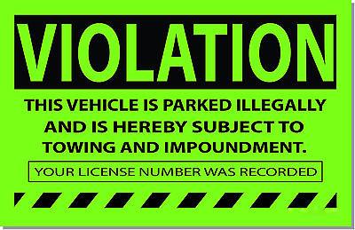 Parking Violation Stickers
