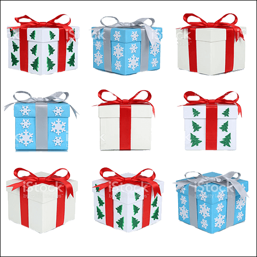 colored Christmas gift boxes
